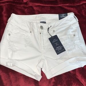 AE White Ripped Denim Shorts